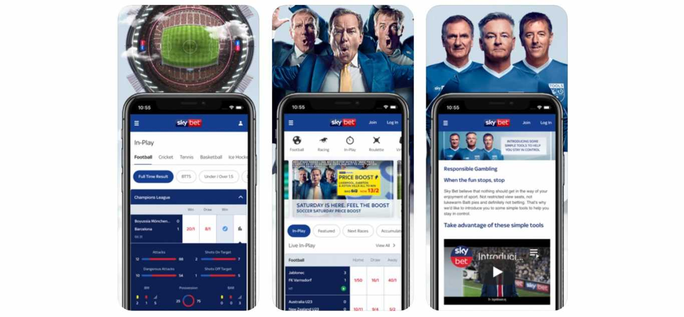 screenshots of the skybet app interface